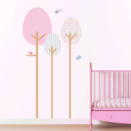 Adesivo de Parede Decorativo Infantil Stixx Árvore Fofura Menina Colorido (197x197x1cm)
