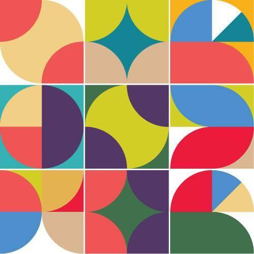 Adesivo de Parede Decorativo para Cozinha Stixx Azulejos Caleidoscópio Colorido (123x61cm)