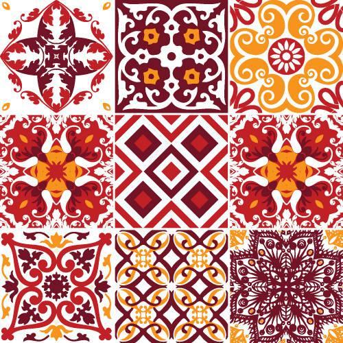 Adesivo de Parede Decorativo para Cozinha Stixx Azulejos Madri Colorido (123x61cm)