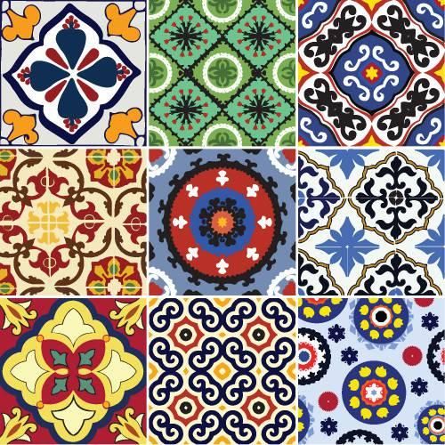 Adesivo de Parede Decorativo para Cozinha Stixx Azulejos Mexicanos Colorido (123x61cm)