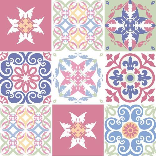 Adesivo de Parede Decorativo para Cozinha Stixx Azulejos Paris Colorido (123x61cm)