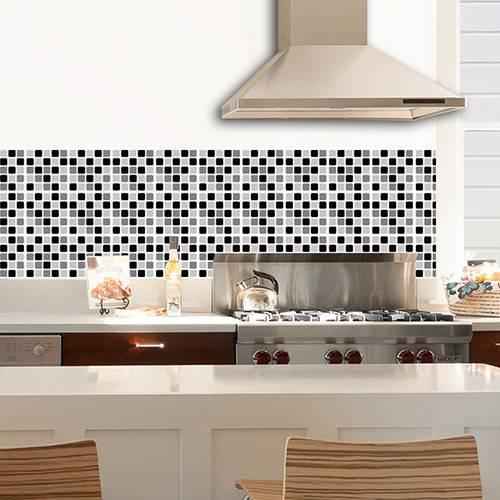 Adesivo de Parede Decorativo para Revestimento Stixx Pastilhas Black And White Preto/Branco (123x61cm)