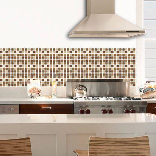 Adesivo de Parede Decorativo para Revestimento Stixx Pastilhas Café Tons Marrom (123x61cm)