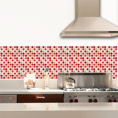 Adesivo de Parede Decorativo para Revestimento Stixx Pastilhas Rubi Tons Vermelho/Bege (123x61cm)