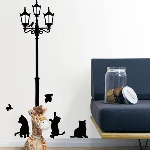 Adesivo de Parede Decorativo Preto Gatinhos e Poste
