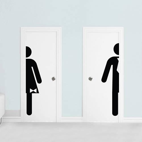 Adesivo de Parede Decorativo Sinalizador para Banheiro Stixx Man & Woman Preto 158x44,5x1cm