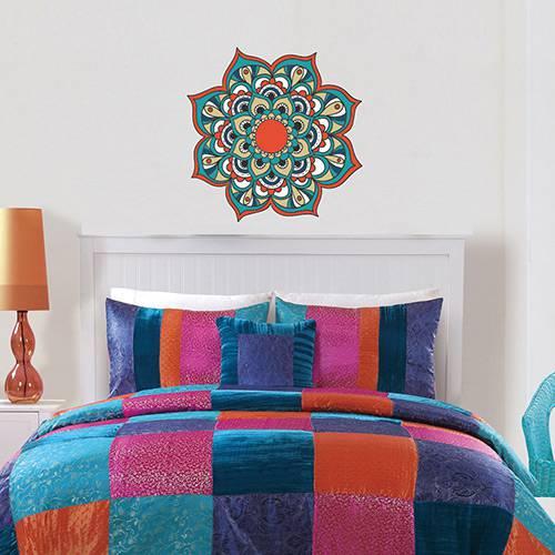 Adesivo de Parede Decorativo Stixx Mandala Aurora Colorido (60x60cm)