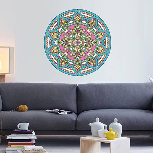 Adesivo de Parede Decorativo Stixx Mandala Chic Colorido (60x60cm)