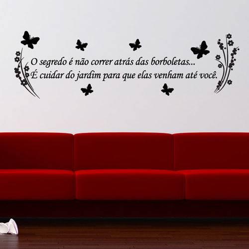 Adesivo de Parede Frase - Jardim de Borboletas - N6013