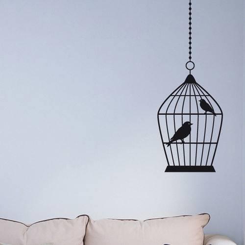 Adesivo de Parede - Gaiola e Pássaros - N3008