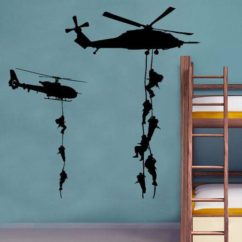 Adesivo de Parede Helicóptero com Soldados