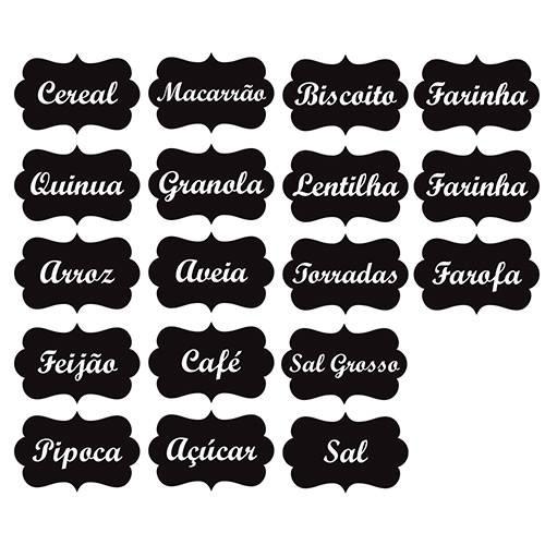 Adesivo de Parede Identificador para Cozinha Stixx Etiquetas Temperos Classic Preto/Branco Tamanho M (8,4x13x1cm)