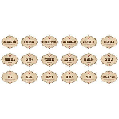 Adesivo de Parede Identificador para Cozinha Stixx Etiquetas Temperos Vintage Colorido Tamanho P com 18 Unidades (4,6x5,6x1cm)
