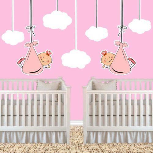 Adesivo de Parede Infantil Casal de Gêmeos Meninas