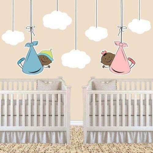 Adesivo de Parede Infantil Casal de Gêmeos Moreno