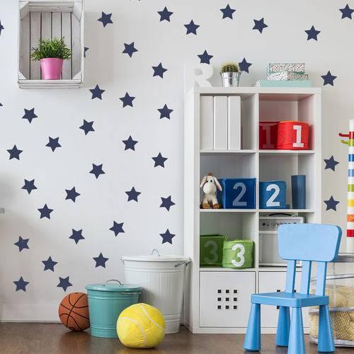 Adesivo de Parede Infantil Estrelas Azul Marinho
