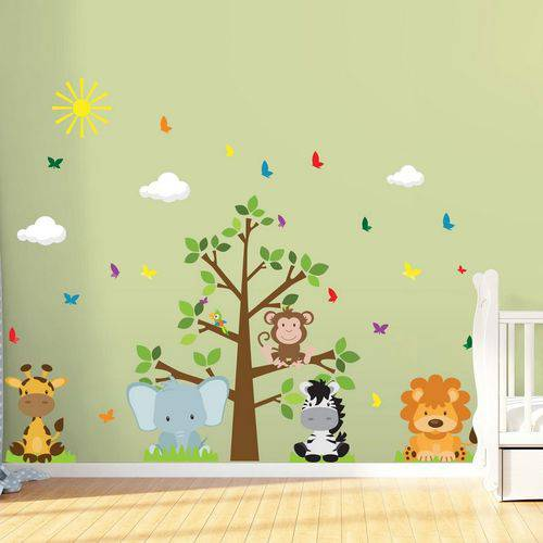 Adesivo de Parede Infantil para Quarto Árvore Safari