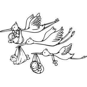 Adesivo de Parede Infantil Quarto Cegonhas para Colorir 70cm X 1m AI12024