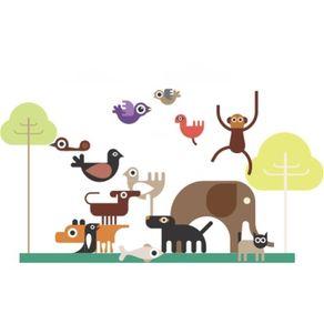 Adesivo de Parede Infantil Quarto Kit Cyber Zoo AI12010