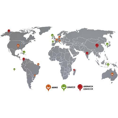 Adesivo de Parede Mapa Destinos Grudado Colorido (66x130cm)