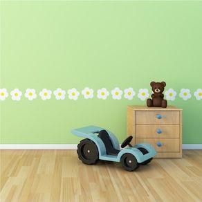 Adesivo de Parede Stickers de Flores Brancas para Quarto Infantil Boneca AI12062