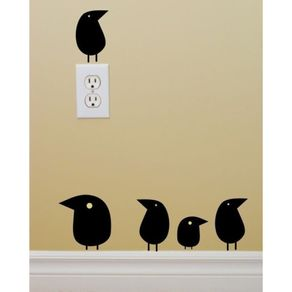 Adesivo de Parede Stickers de Pássaros para Sala de Estar Cantigas ST150002-AO