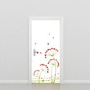 Adesivo de Porta Flores Quarto Corações PO517037