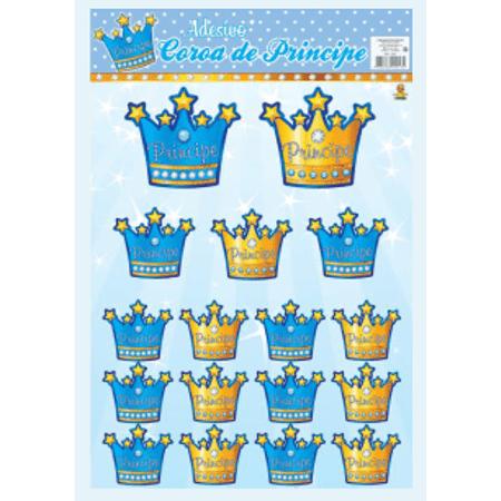 Adesivo Decorativo Coroa Azul - 17 Unidades