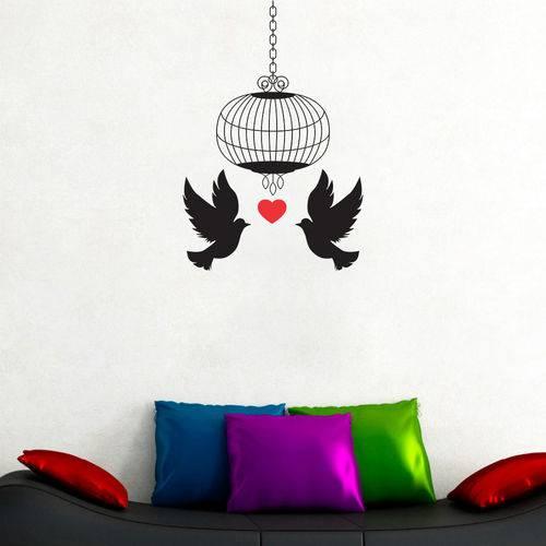 Adesivo Decorativo de Parede - Pássaros Gaiola Love