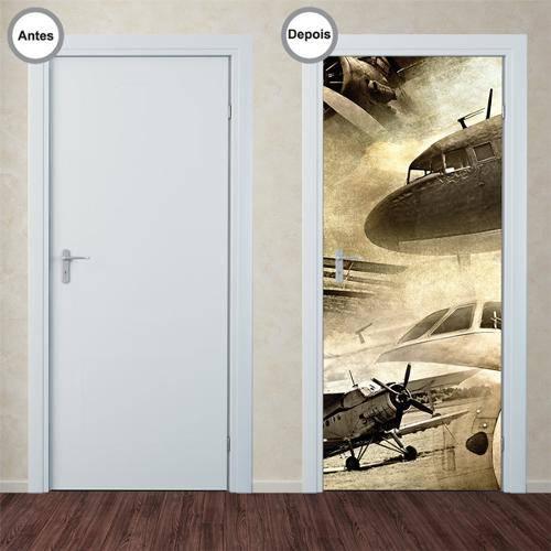 Adesivo Decorativo de Porta - Aviões - 162pt