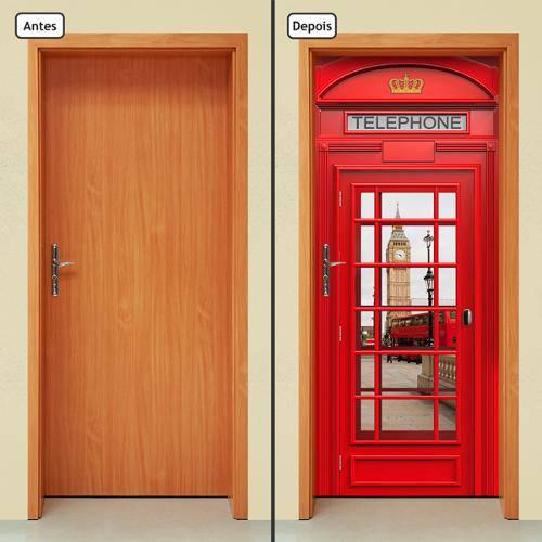 Adesivo Decorativo de Porta - Cabine Telefônica - 080cnpt