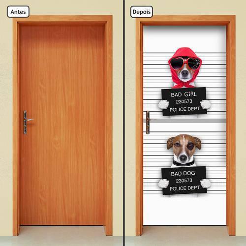 Adesivo Decorativo de Porta - Cachorros - 146cnpt