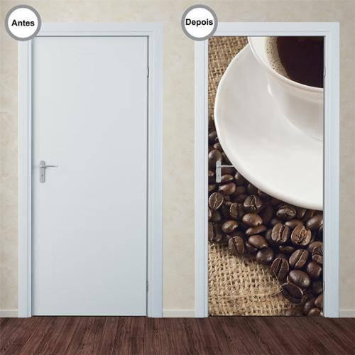 Adesivo Decorativo de Porta - Café - 141pt