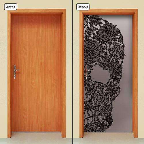 Adesivo Decorativo de Porta - Caveira - Preta - 101cnpt