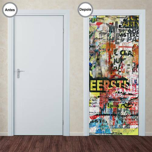 Adesivo Decorativo de Porta - Colagem - 015pt