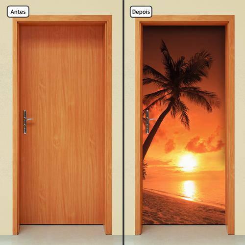 Adesivo Decorativo de Porta - Coqueiro - Praia - 739cnpt