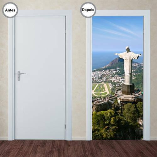 Adesivo Decorativo de Porta - Cristo Redentor - 036pt