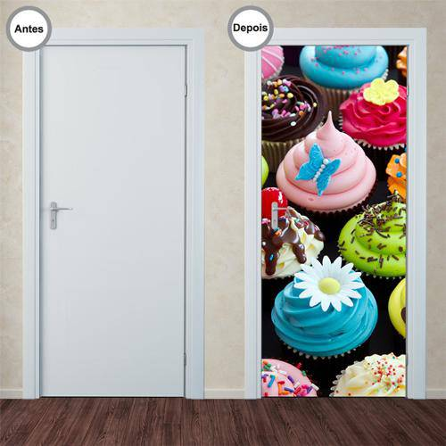 Adesivo Decorativo de Porta - Cupcakes - 133pt
