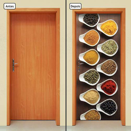 Adesivo Decorativo de Porta - Temperos - Cozinha - 039cnpt