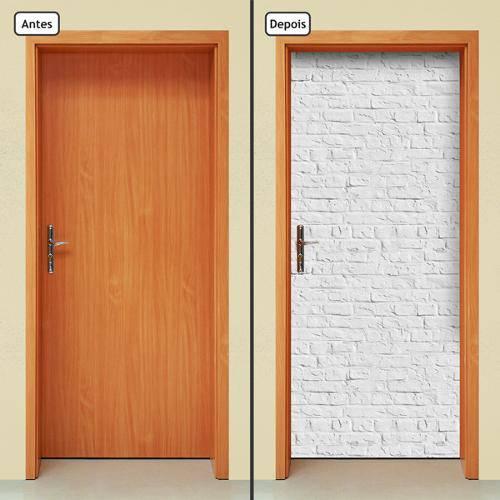 Adesivo Decorativo de Porta - Tijolos Brancos - 409cnpt