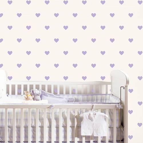 Adesivo Decorativo Infantil Stixx Corações Poá Lilás com 108 Unidades (5,5x5cm)