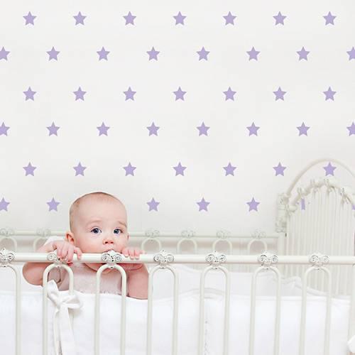Adesivo Decorativo Infantil Stixx Estrelas Poá Lilás com 103 Unidades (7x7cm)