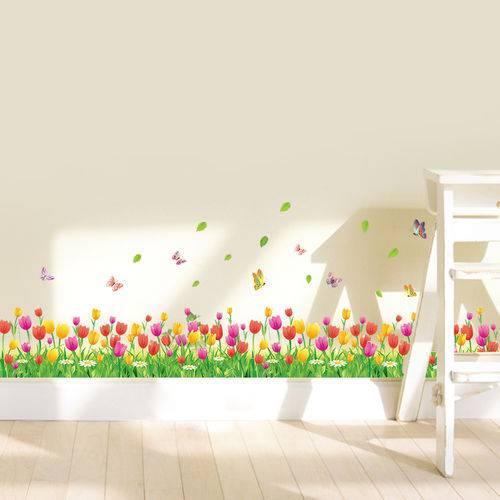 Adesivo Decorativo para Rodapé Flores Coloridas