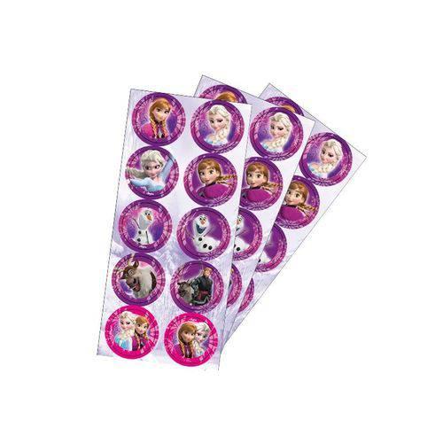Adesivo Decorativo Redondo Frozen - Pack 03 Unidades