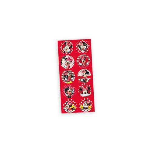 Adesivo Decorativo Redondo Red Minnie - Pack 03 Unidades