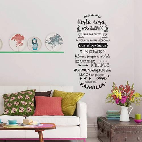 Adesivo Decorativo Stixx com Frase Nossa Familia Preto (57x112cm)