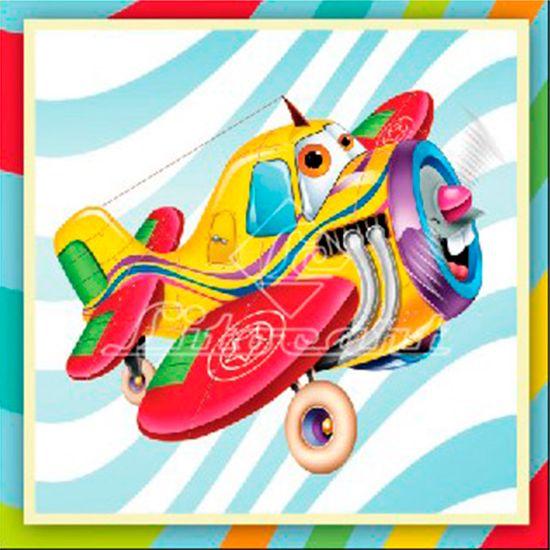 Adesivo Decoupage com Glitter Litocart 10x10 LAXG-034 Avião