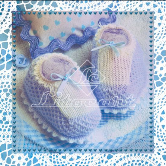 Adesivo Decoupage com Glitter Litocart 10x10 LAXG-024 Sapatinho de Bebê