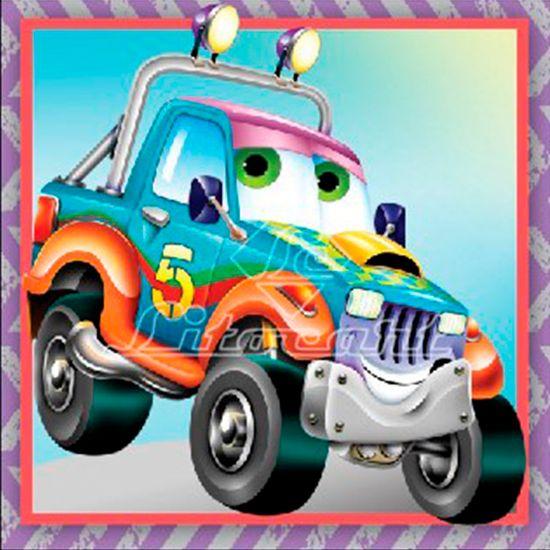 Adesivo Decoupage com Glitter Litocart 10x10 LAXG-036 Carro