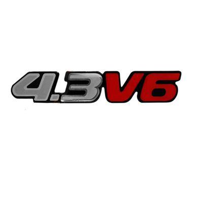 Adesivo Emblema Letreiro 4.3 V6 da Blazer e S10 1996 a 2011 Novo Modelo Prata Grande